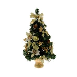 Toptopdeal-uk-WeRChristmas-Pre-Lit-Decorated-Christmas-Tree-Table-Decoration,-2-feet---Gold