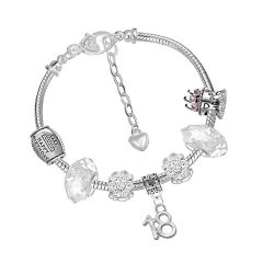 toptopdeal Crystal Birthday Charm Bracelet with Silver Gift Box for Women Girls Age 16th 18th 21st 30th 40th 50th 60th 70th 80th
