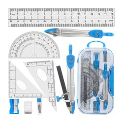 Toptopdeal-Geometry-Compass-Set-Tuloka-10pcs-School-Maths-Protractor-Set-Rulers-for-Student-Maths-and-Engineering-in-Carry-Case,-Blue