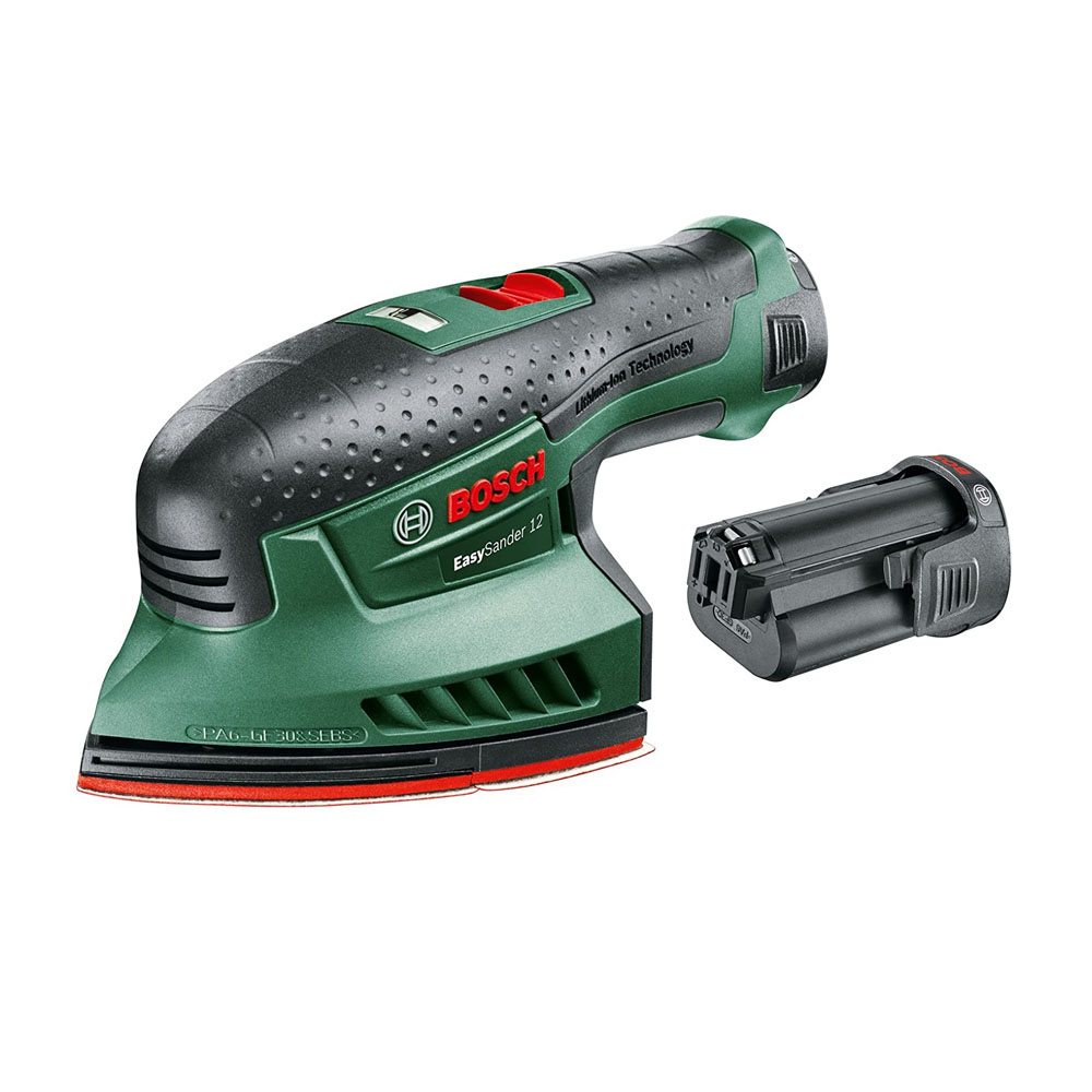 toptopdeal Bosch Battery-Operated Multi-Sander with Charger Adapter for Dust Extraction- 3 Sanding Sheets and 104-cm² Sanding Surface- 060397690A