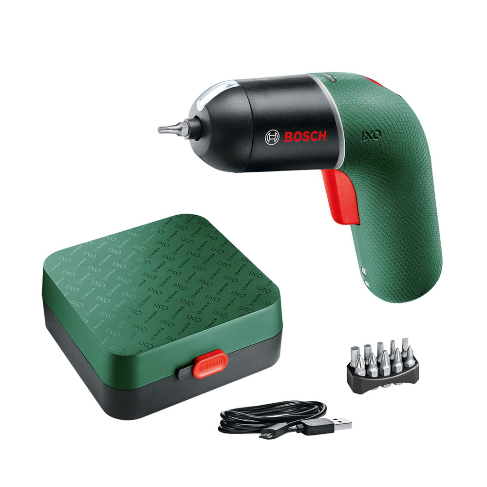 toptopdeal Bosch Cordless Screwdriver IXO (6th Generation- green- variable SPEED CONTROl- rechargeable with micro USB-cable- in storage case)