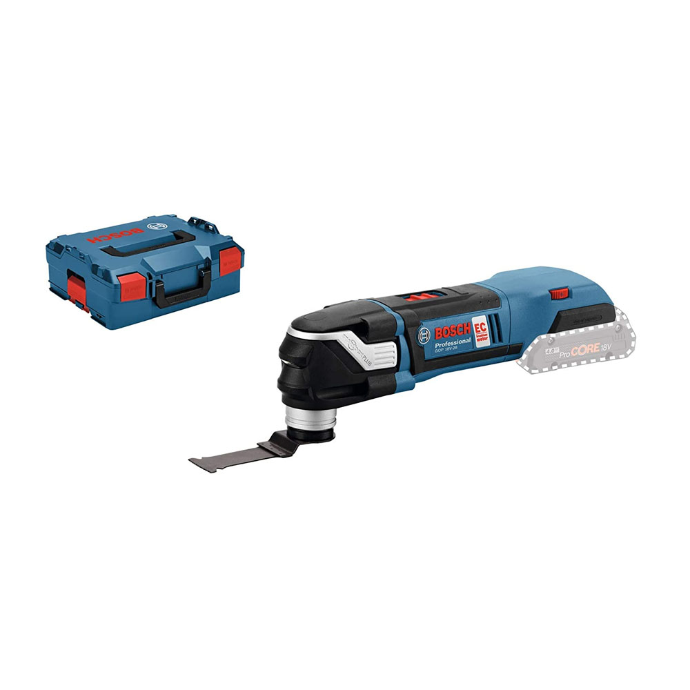 toptopdeal Bosch Professional GOP 18 V-28 Cordless Multi-Cutter + PAIZ 32 APB StarlockPlus BIM Plunge Cut Saw Blade (Without Battery and Charger)- L-Boxx