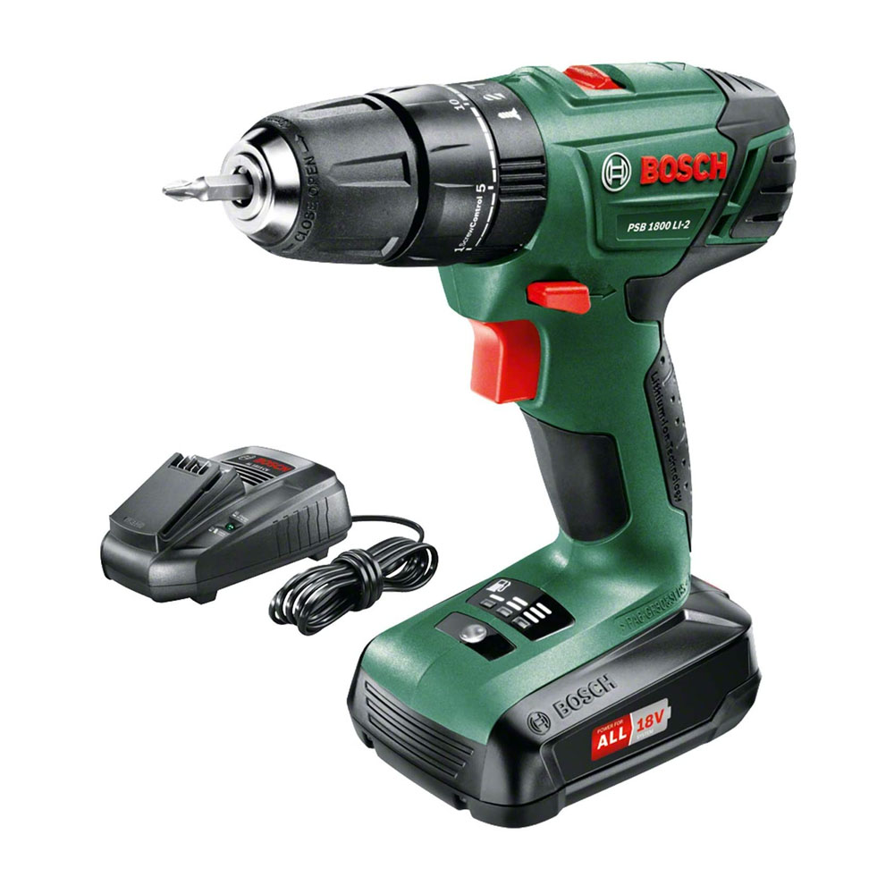 toptopdeal Bosch 06039A3370 PSB 1800 LI-2 Cordless Combi Drill with 18 V Lithium-Ion Battery - Green