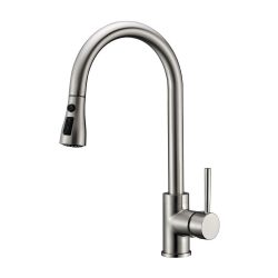 toptopdeal Brushed Nickel 304 Stainless Steel with Solid Brass Modern Commercial Single Handle Single Hole Pull Down Sprayer Kitchen Tap