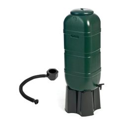 toptopdeal Charles Bentley Slim Line Garden Water Butt Set Including Tap with Stand Lockable Lid Filler Kit - 100L