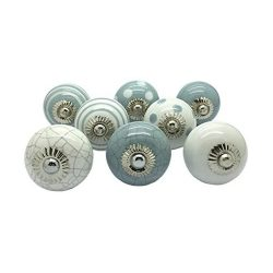 toptopdeal G Decor Set of 8 Grey & White Ceramic Door Knobs Vintage Shabby Chic Cupboard Drawer Pull Handles