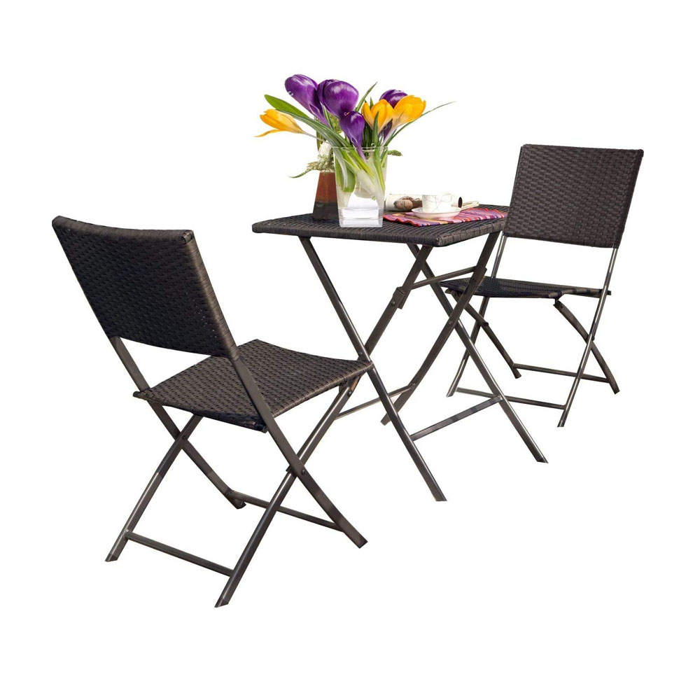toptopdeal Grand patio Bistro Set 3 Pieces- Premium Rattan Wicker- 2 Chairs and 1 Table- Weather Resistant- Garden Furniture Set- Easy to Fold-Patio Table Chairs for