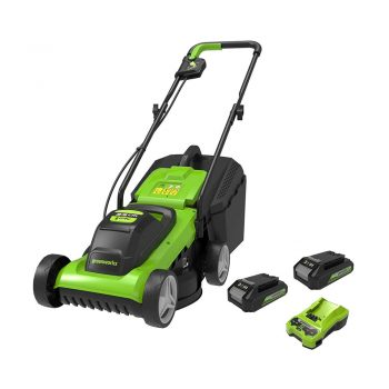toptopdeal Greenworks Battery Lawnmower G24LM33 (Li-Ion 24V 33 cm Cutting Width up to 250 qm² 30 Litre Grass Collector 3-Fold Central Cutting Height Adjustment