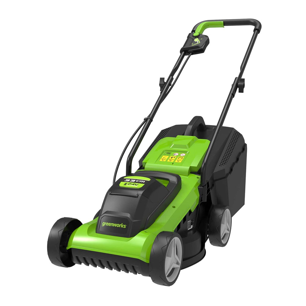 toptopdeal Greenworks Tools Battery Mower G24LM33 (Li-Ion 24V 33 cm Cutting width Up to 250qm² 30 Litre Grass Catcher Box 3-Fold Central Cutting Height Adjustment