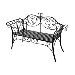 toptopdeal HLC Metal antique garden bench Outdoor Doubel Seat with Decorative Cast Iron Backrest