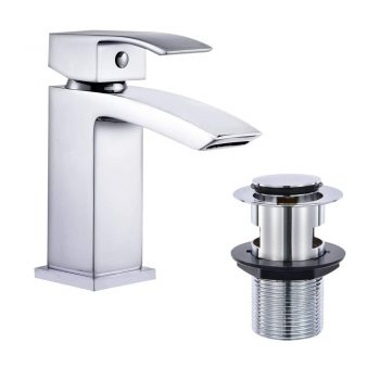 toptopdeal Hapilife Basin Taps Waterfall with Pop up Waste Square Bathroom Sink Mixer Taps with UK Standard Hoses