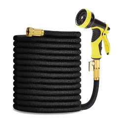 toptopdeal HmiL-U Garden Hose 150ft 45m Strongest Double Latex Inner Tube Prevent Leaking Magic Hosepipe with 9 Function Spray Gun+Solid Brass Fittings (Retracted
