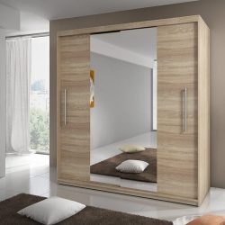 toptopdeal MODERN BEDROOM 2 SLIDING DOORS WARDROBE 6 ft 8 inch (204cm) CHOICE OF SIDES COLOURS AND FRONTS (Sonoma Oak Frame- Sonoma Front with mirror)