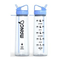 toptopdeal Mango Water Bottle With Straw - 900ml Motivational Time Markings