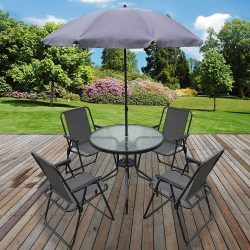 toptopdeal Marko Outdoor 6PC Garden Patio Furniture Set Outdoor Grey 4 Seats Round Table Chairs & Parasol