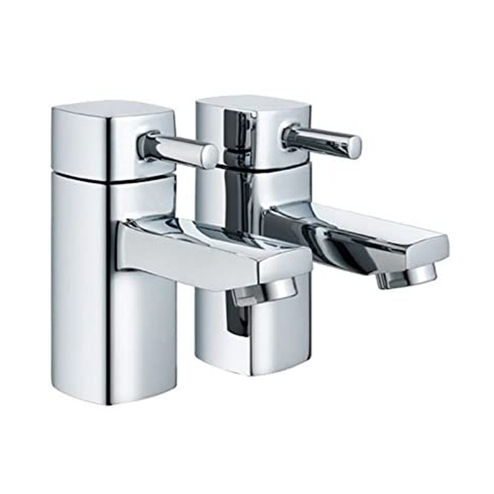 toptopdeal Modern Chrome Square 3-4- Bathroom Bath Filler Taps (Hot & Cold Twin)