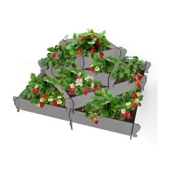 toptopdeal Palram KIMY Pyramid Raised Garden Bed Planter- Outdoor Elevated Plant Holder for Flowers- Herbs- Vegetables- 4 Squares-33 x 48 x 58 x 81 CM