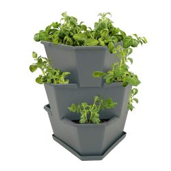 toptopdeal Paul Potato Starter Potato Tower Stackable Raised Bed Planter Flower Pot for Balcony- Garden and Patio Including Saucer (3 levels, Anthracite (Grey))