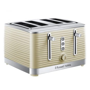 toptopdeal Russell Hobbs 24384 Cream Inspire 4 Slice Toaster, Wide Slot with Lift and Look Feature,