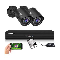 toptopdeal SANSCO 4 Channel 5MP DVR 1080P CCTV Camera System with 1TB HDD for 24-7 Recording- 2x 2MP HD Waterproof Security Bullet Outdoor Cameras with All Metal