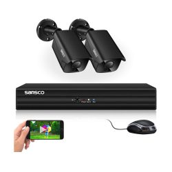 toptopdeal SANSCO 5MP DVR Video Security Camera System, 2pcs HD 1080P Outdoor Waterproof CCTV Bullet Camera with all metal casing- 4 Channel 2K Recorder- Plug and Play