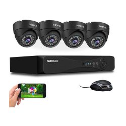 toptopdeal SANSCO True 1080p CCTV Camera Security Syste-pcs 2MP Full HD Metal Dome Cameras- 4CH 5MP DVR (Indoor & Outdoor- Email Alerts- Motion Detection-APP