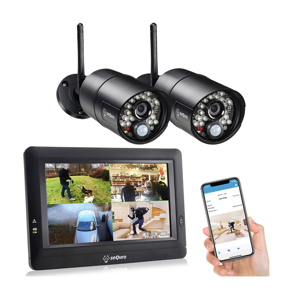 toptopdeal SEQURO GuardPro Home Surveillance DVR Kit- Outdoor Waterproof Camera and Portable Monitor-Local Record and Play CCTV- Long Range 1000ft-Night Vision Blac