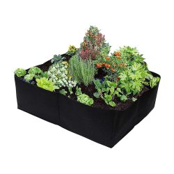 toptopdeal SUREH Fabric Raised Garden Bed for Vegetables Flowers 4 Divided Grids Raised Vegetable Planter Bed Square Garden Growing Bags Aeration Fabric Potato Tomato Planter Pots