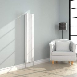 toptopdeal SWNN heater Vertical 1600x354mm Radiator White Double Oval Panel Column Designer Bathroom Central Heating (Color - White)