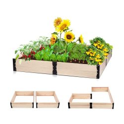 toptopdeal Taleco Gear Raised Garden Bed Planter,- Wooden Elevated Planter Garden Box for Vegetable-Flower-Herb Outdoor Solid Wood