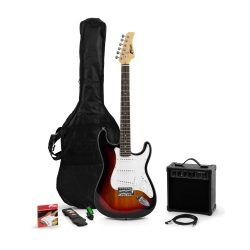 toptopdeal Tiger Beginners Full Size Electric Guitar Starter Pack with Amplifier, Strap, Spare Strings, Lead, Plectrums, and Gig Bag – Complete Starter Bundle in...