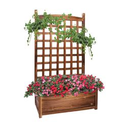 toptopdeal UNHO Wood Planter Box with Trellis, Free Standing Plant Raised Bed Large Plant Trough Container Box for Patio Garden Yard (25''LX13'&rsquo