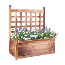 toptopdeal UNHO Wood Planter Box with Trellis- Free Standing Plant Raised Bed Large Plant Trough Container Box for Patio Garden Yard (25''LX13'&rsquo