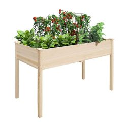 toptopdeal UNHO Wooden Garden Planters, Garden Raised Beds Planter Outdoor Plant Container Rectangle Plants Vegetables Flowers Planting Bed 118.5 x 57