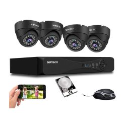 toptopdeal [Upgrade 5MP] SANSCO HD CCTV Camera System- 4 Channel Surveillance DVR with (4) 5MP Outdoor Dome Cameras and 1TB Hard Drive (2560x1920p-Vandal-Proof