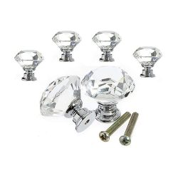 toptopdeal VIPMOON 6pcs 30mm Clear Crystal Glass Diamond Door Knobs with Screw for Cabinet Drawer Handle Home Decorating