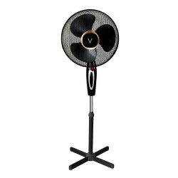 toptopdeal Ventio 16 Inch Pedestal Oscillating Stand Fan (Black)