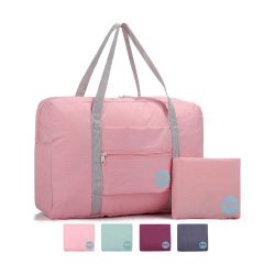 toptopdeal WANDF Foldable Travel Duffel Bag Luggage Sports Gym Water Resistant Nylon (Coral Pink)