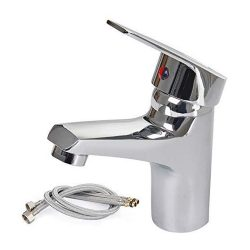 toptopdeal everso Waterfall Bathroom Monobloc Basin Sink Mixer Tap Chrome Single Lever with 2 Hoses