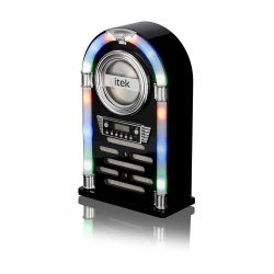 toptopdeal iTek Jukebox with CD Player, FM Radio and Bluetooth Connection, Remote Control Included, Gloss Black