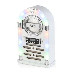 toptopdeal iTek Jukebox with CD Player, FM Radio and Bluetooth Connection, Remote Control Included, Gloss White