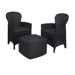 toptopdeal idooka – Small Tea for Two Bistro Set – Round Backed 2x Chair & Table Patio Set for Balcony-Conservatory or Garden with Cushions –