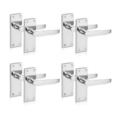 toptopdeal toptopdeal XFORT® Lever Latch Flat Polished Chrome Door Handles- Elegant Door Handle Set for Wooden Doors- Classic Victorian Straight Design- Ideal for All Types