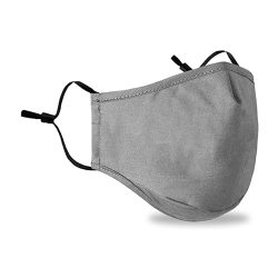 2 Pcs Face Mask Washable Reusable Grey Face Mask without Filter, Respirator Face Covering Protection from Airborne Irritants