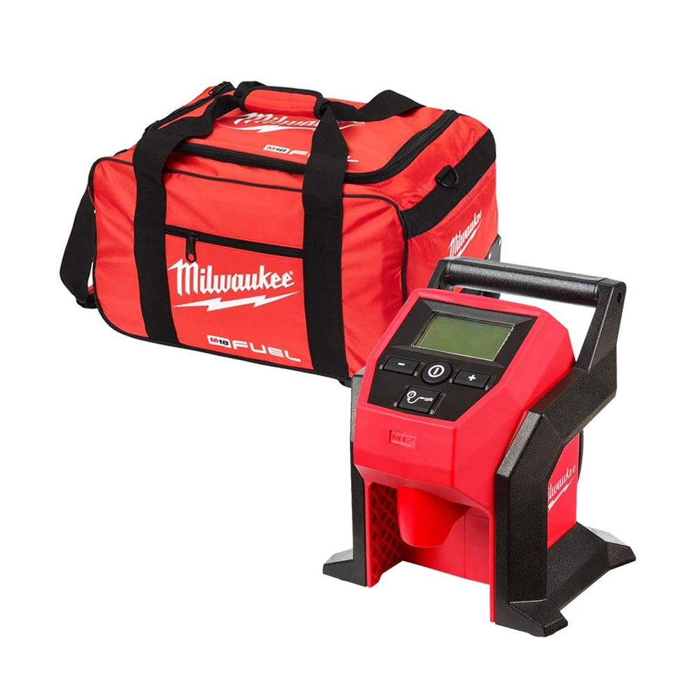 Toptopdeal Milwaukee M12BI 12V Sub-Compact Tyre Inflator with 19 inch Wheel Bag