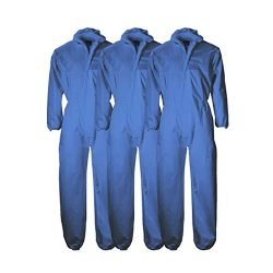 toptopdeal-3 Pack Disposable Polypropylene White or Blue Boiler Suit Coverall Overall Lab Coat
