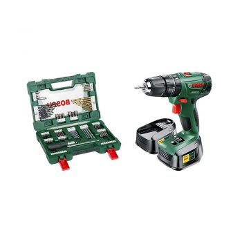 toptopdeal-Bosch PSB 1800 LI-2 Cordless Combi Drill with Two 18 V Lithium-Ion Batteries and 91 Piece sccessory Set