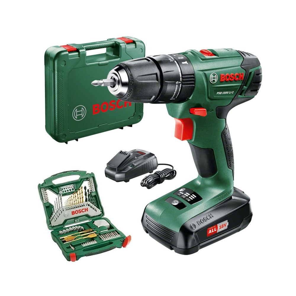 toptopdeal-Bosch PSB 1800 LI-2 Cordless Combi Drill with two 18 V Lithium-Ion Battery with a 70 Piece Accessory Set