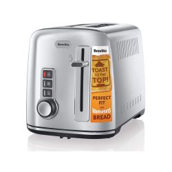 toptopdeal-Breville 2-Slice Toaster the Perfect Fit for Warburtons with High Lift, Polished Stainless Steel [VTT570]