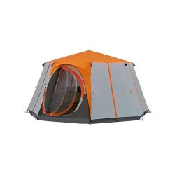 toptopdeal-Coleman Tent Octagon, 6 Man Festival Dome Tent, 6 Person Family Camping Tent with 360° Panoramic View Stable Steel Pole Construction Sewn-in Groundsheet 100 Percent Waterproof